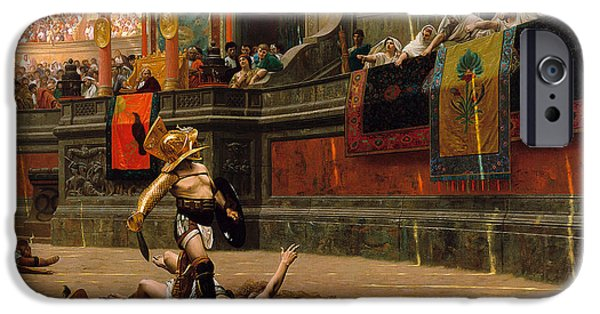 Gerome iPhone Cases - Pollice Verso. With a turned thumb iPhone Case by Jean-Leon Gerome