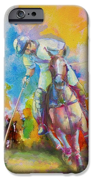 Summer Sports Paintings iPhone Cases - Polo Art iPhone Case by Catf