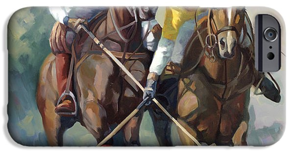 Sport Games Paintings iPhone Cases - Polo iPhone Case by Laurie Hein