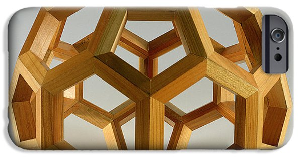 Structure iPhone Cases - Polyhedron Wood iPhone Case by Italian School
