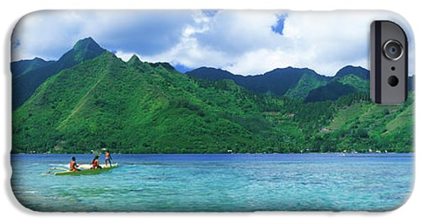Canoe iPhone Cases - Polynesian People Rowing A Yellow iPhone Case by Panoramic Images