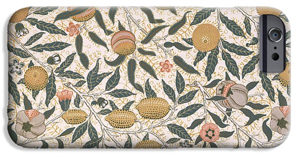 Patterned Drawings iPhone Cases - Pomegranate design for wallpaper iPhone Case by William Morris