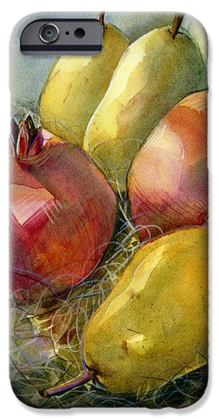Decor iPhone Cases - Pomegranates and Pears iPhone Case by Jen Norton