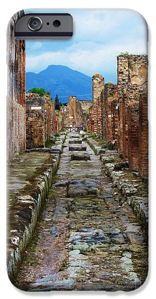 Recently Sold -  - Ruin iPhone Cases - Pompeii Street with Mount Vesuvius Looming in the Background iPhone Case by Cimorene Photography