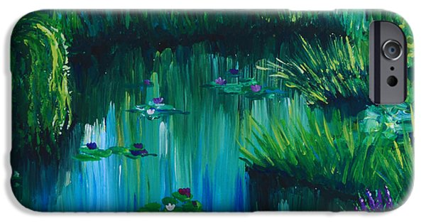 Willow Lake Paintings iPhone Cases - Pond by the Willow iPhone Case by Alexandra Nicole Newton