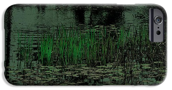 Surrealism Digital Art iPhone Cases - Pond Grasses Panorama iPhone Case by David Patterson
