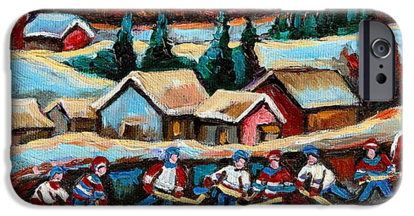 After School Hockey Paintings iPhone Cases - Pond Hockey Game In The Country iPhone Case by Carole Spandau