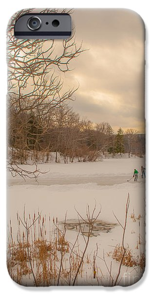 Family Time iPhone Cases - Pond Hockey at Durand iPhone Case by Ken Marsh