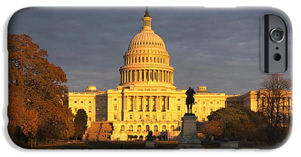 Capitol Hill iPhone Cases - Pond In Front Of A Government Building iPhone Case by Panoramic Images