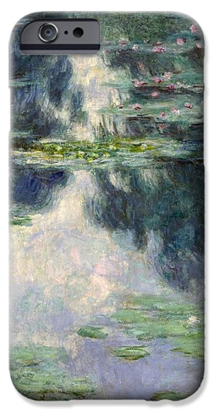 1907 Paintings iPhone Cases - Pond with Water Lilies iPhone Case by Claude Monet