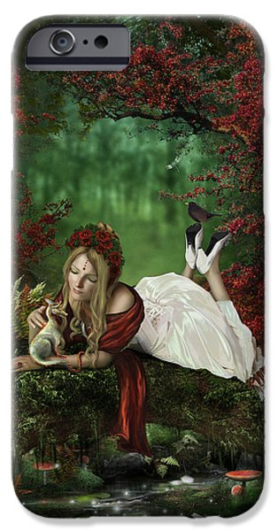 Phantasie iPhone Cases - Pondering iPhone Case by Cassiopeia Art