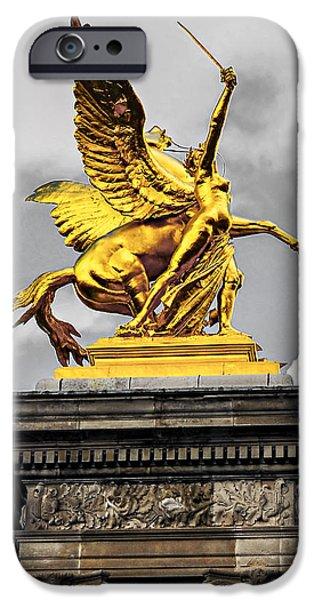 Pont Alexander III fragment in Paris iPhone Case by Elena Elisseeva