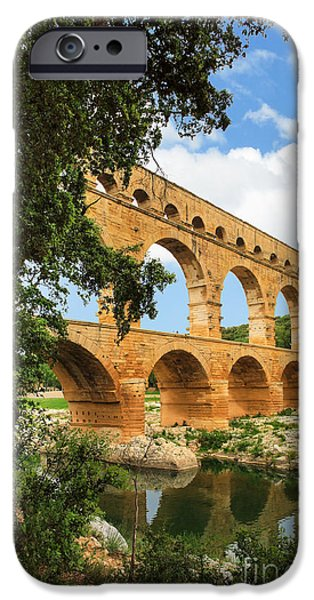 Ruin iPhone Cases - Pont du Gard iPhone Case by Inge Johnsson