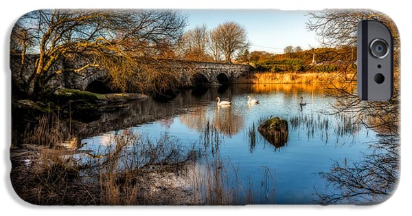 Swans... Pyrography iPhone Cases - Pont Pen y Llyn Bridge iPhone Case by Adrian Evans