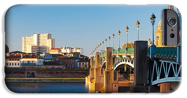 Midi iPhone Cases - Pont Saint-pierre Bridge And The Dome iPhone Case by Panoramic Images