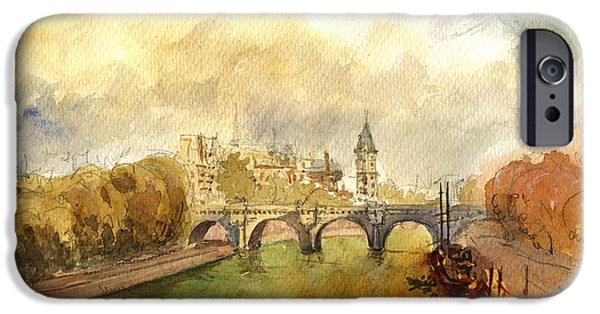 Notre Dame Cathedral iPhone Cases - Ponte Neuf Paris iPhone Case by Juan  Bosco