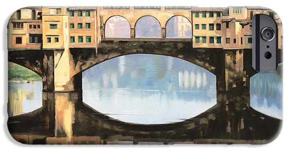 Renaissance Paintings iPhone Cases - Ponte Vecchio a Firenze iPhone Case by Guido Borelli