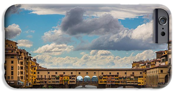 Night Lamp iPhone Cases - Ponte Vecchio Clouds iPhone Case by Inge Johnsson