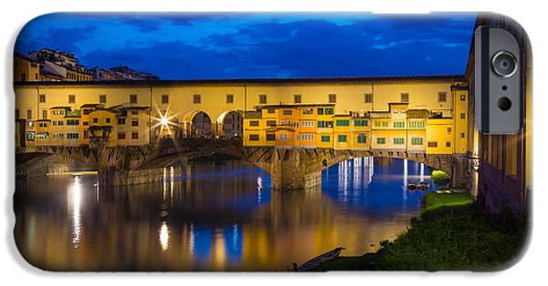 Tuscan Sunset iPhone Cases - Ponte Vecchio Reflection iPhone Case by Inge Johnsson