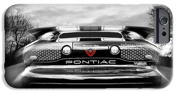 1990s iPhone Cases - Pontiac Trans Am Rear in Black and White iPhone Case by Gill Billington