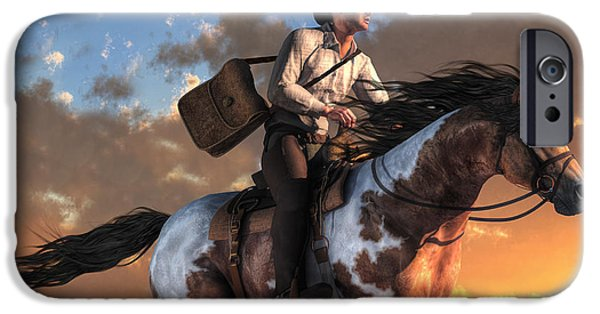 Horse Racing Digital Art iPhone Cases - Pony Express iPhone Case by Daniel Eskridge