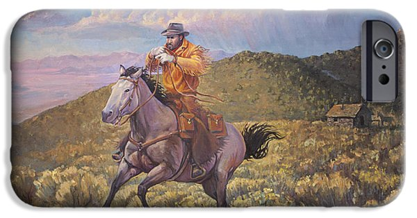 The Horse iPhone Cases - Pony Express Rider at Look Out Pass iPhone Case by Rob Corsetti