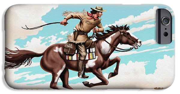 Us Postal Service iPhone Cases - Pony Express Rider historical americana painting desert scene iPhone Case by Walt Curlee