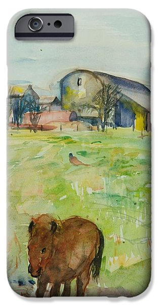 Rural iPhone Cases - Pony In The Farm Meadow, East Green, 1980 Wc On Paper iPhone Case by Brenda Brin Booker