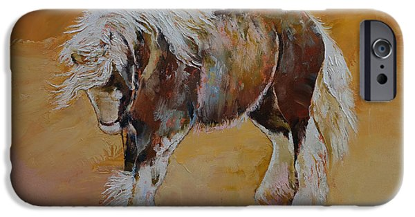 Michael Paintings iPhone Cases - Gypsy Horse iPhone Case by Michael Creese