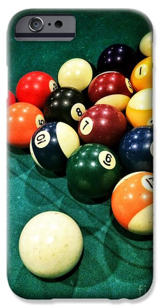 Concept Photographs iPhone Cases - Pool Balls iPhone Case by Carlos Caetano
