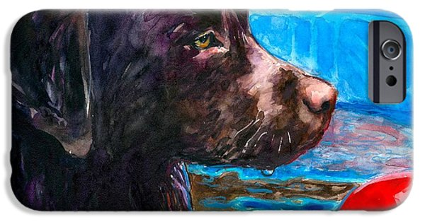 Chocolate Lab iPhone Cases - Pool Party of One iPhone Case by Molly Poole