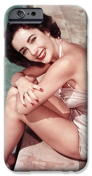 1950s Movies iPhone Cases - Poolside Elizabeth Taylor iPhone Case by Nomad Art And  Design
