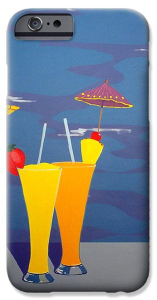 Escape Paintings iPhone Cases - Poolside Umbrella Drinks iPhone Case by Karyn Robinson