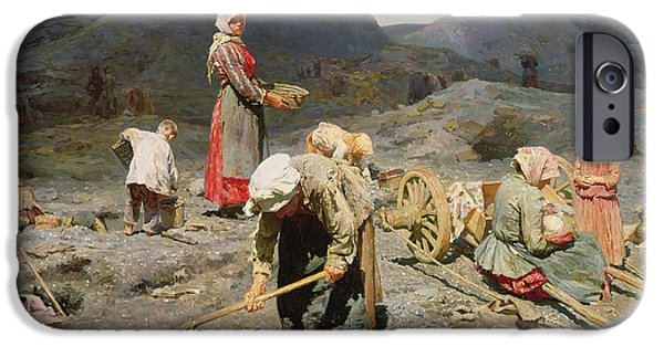 Rake iPhone Cases - Poor People Gathering Coal at an Exhausted Mine iPhone Case by Nikolaj Alekseevich Kasatkin
