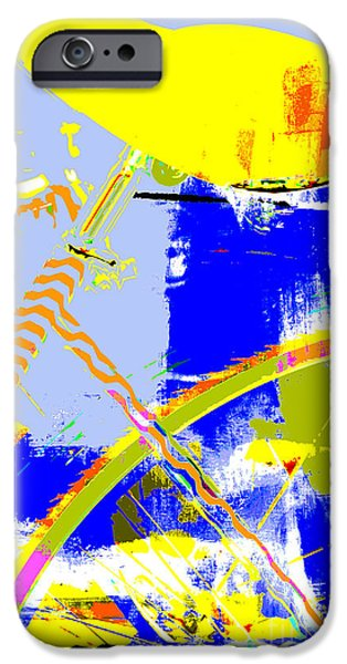 Red White And Blue Mixed Media iPhone Cases - Pop Art Bicycle in Blue and Yellow iPhone Case by Anahi DeCanio - ArtyZen Studios