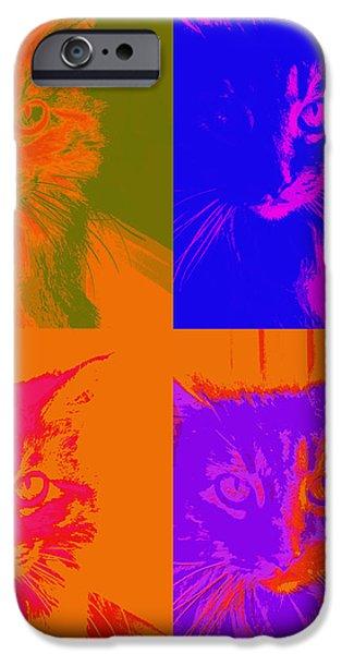 Pop Art Cat  iPhone Case by Ann Powell