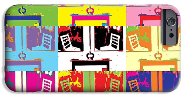 Concept Mixed Media iPhone Cases - Pop-Art chairs and tables iPhone Case by Toppart Sweden