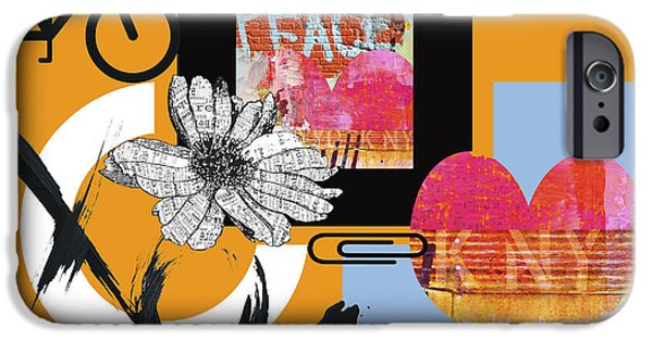 Street Mixed Media iPhone Cases - Pop Art Peace and Love NY Urban Collage iPhone Case by Anahi Decanio
