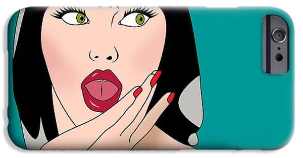 Character Portraits Digital iPhone Cases - Pop Art Woman  iPhone Case by Mark Ashkenazi