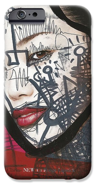 Circuit Drawings iPhone Cases - Pop-Graffiti Tattoo Model iPhone Case by Edward X