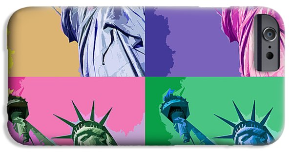 Concept Art iPhone Cases - Pop Liberty iPhone Case by Delphimages Photo Creations