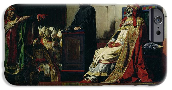 Pope iPhone Cases - Pope Formosus and Pope Stephen VI iPhone Case by Jean Paul Laurens