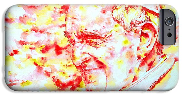 Pope Paintings iPhone Cases - POPE FRANCIS profile -watercolor portrait iPhone Case by Fabrizio Cassetta