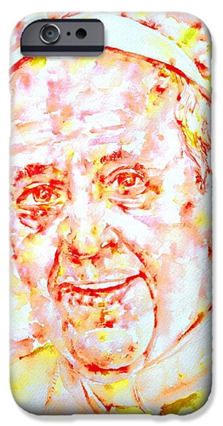 Pope iPhone Cases - POPE FRANCIS SMILING -watercolor portrait iPhone Case by Fabrizio Cassetta