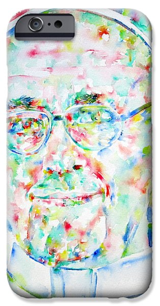 Pope iPhone Cases - POPE FRANCIS watercolor portrait iPhone Case by Fabrizio Cassetta