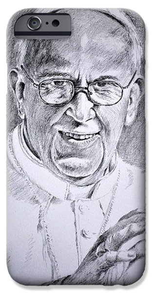 Religious Drawings iPhone Cases - Pope Franciscus iPhone Case by Henryk Gorecki