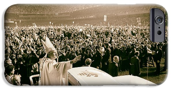 Pope iPhone Cases - Pope John Paul II at Yankee Stadium 1979 iPhone Case by Mountain Dreams