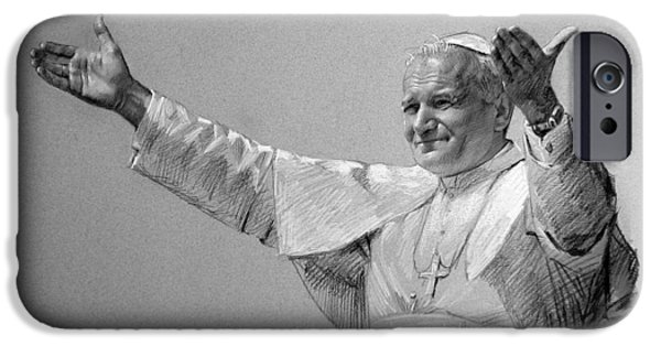 Drawing Pastels iPhone Cases - POPE JOHN PAUL II bw iPhone Case by Ylli Haruni