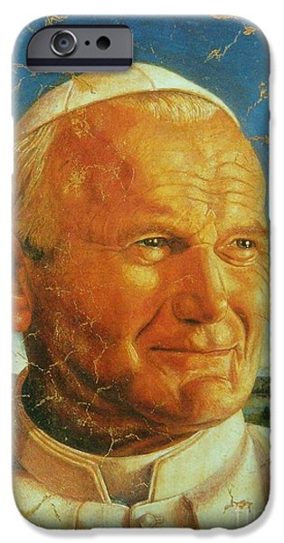 Pope Mixed Media iPhone Cases - Pope JOHN PAUL II iPhone Case by Gunter  Hortz