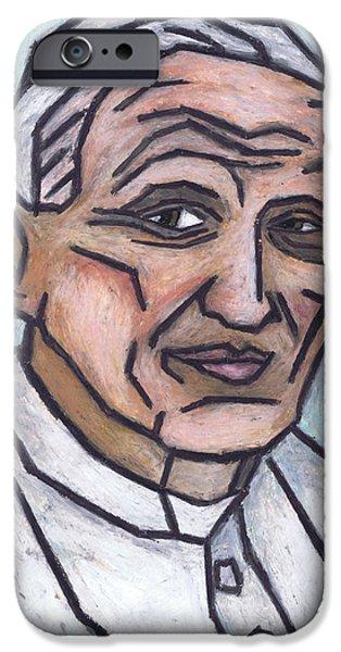 Pope Pastels iPhone Cases - Pope John Paul II iPhone Case by Kamil Swiatek